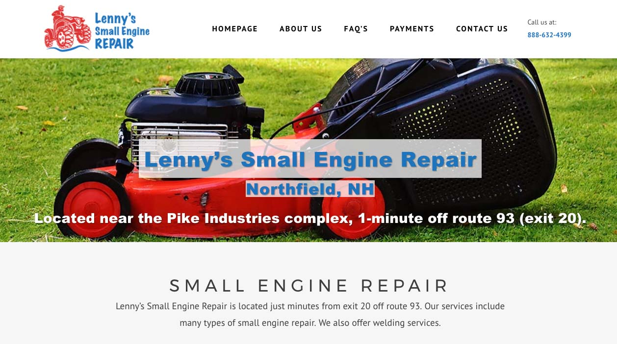 Lenny's Small Engine Repair Website