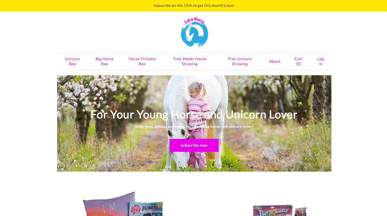 LaLa Horse Subscription Box Website